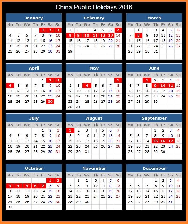 Anno Calendario Cinese.Calendario Lavorativo In Cina Anno 2016