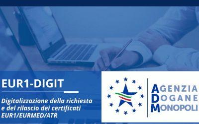 DIGITALIZZAZIONE DEI CERTIFICATI DI CIRCOLAZIONE EUR1 – EUR MED – A.TR